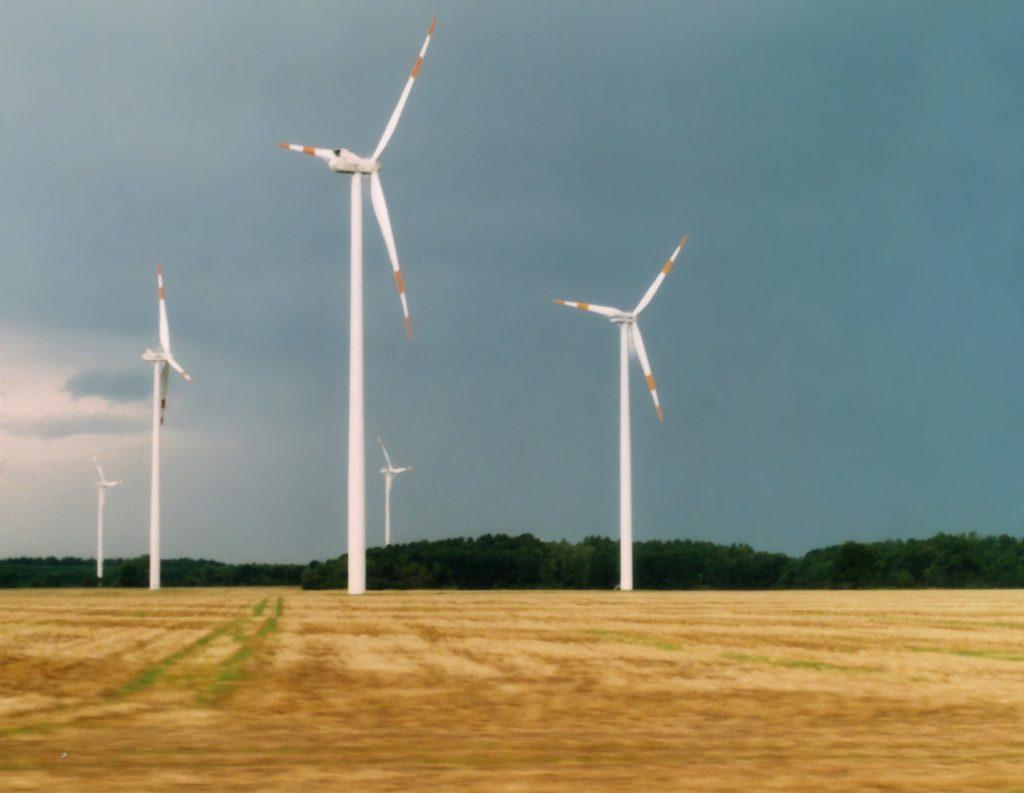 Windmühlen auf Wiese