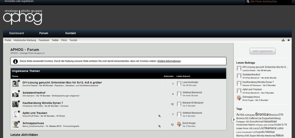 Screenshot APHOG Startseite // Fotografie Foren