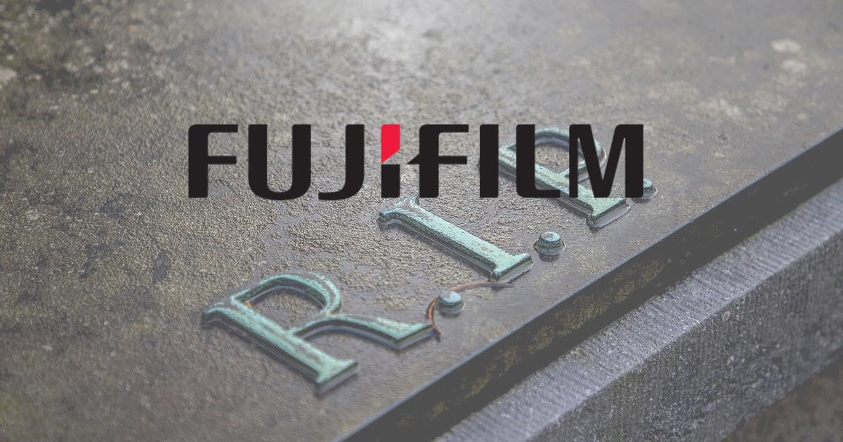 Fujifilm Logo auf R.I.P. Schrift
