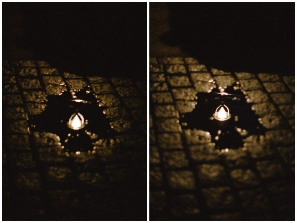 Vergleich zweier Bilder mit scharfem und unscharfem Fokus einer Lampe in Spiegelung (Pfütze)