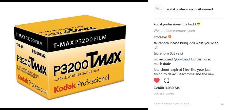 Kodak bringt den Tmax 3200 zurück!