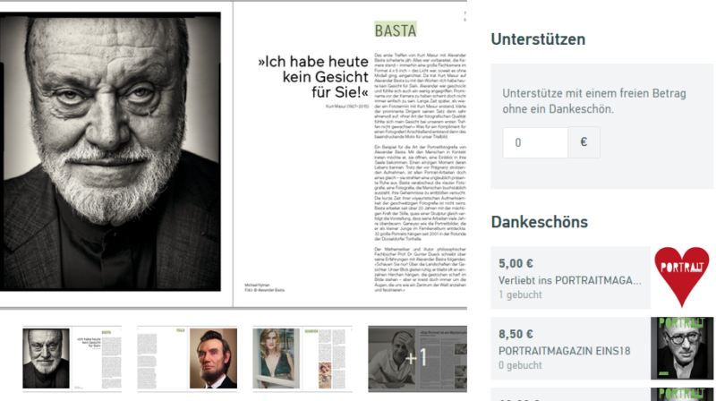 Screenshot - Portraitmagazin auf startnext.com