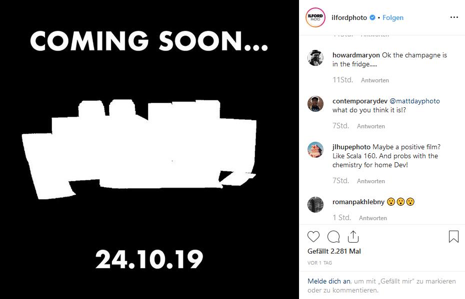 Ilford Instagram Teaser-Bild zur Ankündigung neuer Produkte